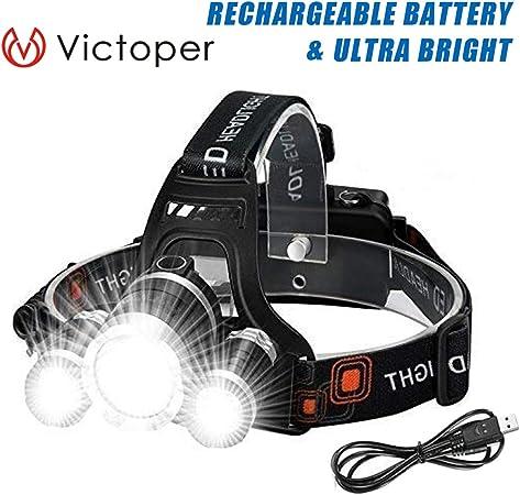 Linterna Frontal – Victoper 6000 Lúmenes Linterna Frontal LED ...
