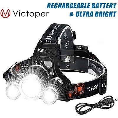 Linterna Frontal – Victoper 6000 Lúmenes Linterna Frontal LED Recargable, 2 Baterías, 3 LED, 4 Modos Linterna Frontal LED USB Recargable Alta Potencia, para Casco, Pesca, Bicicleta, Camping y Caza