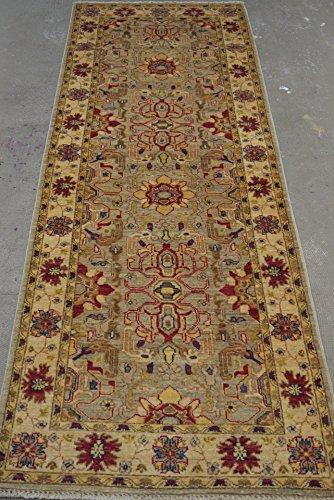 Babak's Oriental Carpets Chobi Ziegler Handmade Afghan Hallway Runner Rug 7'0