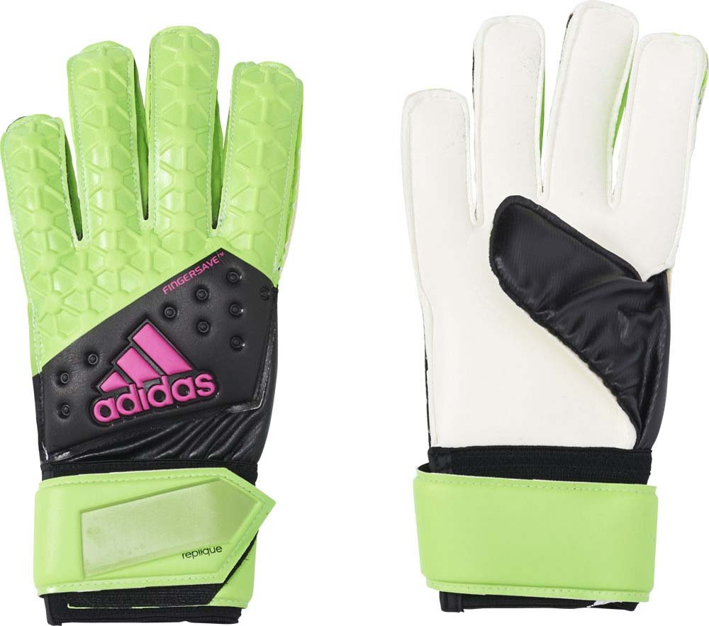 Adidas Men's Ace Finger Save Replique Goalkeeper Gloves - Solar Green/Core  Black/Shock Pink S16/White, Size 7.5: Amazon.co.uk: Sports & Outdoors