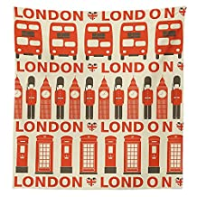 London Decor Tablecloth Stylish Drawing of Classic Local Attributes Big Ben Red Bus Queens Guard and Flags Dining Room Kitchen Rectangular Table Cover