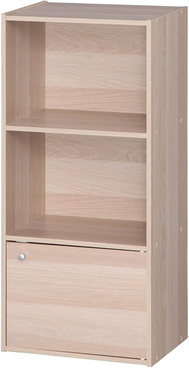 IRIS USA 3 Tier Wood Storage Shelf with Door, Light Brown