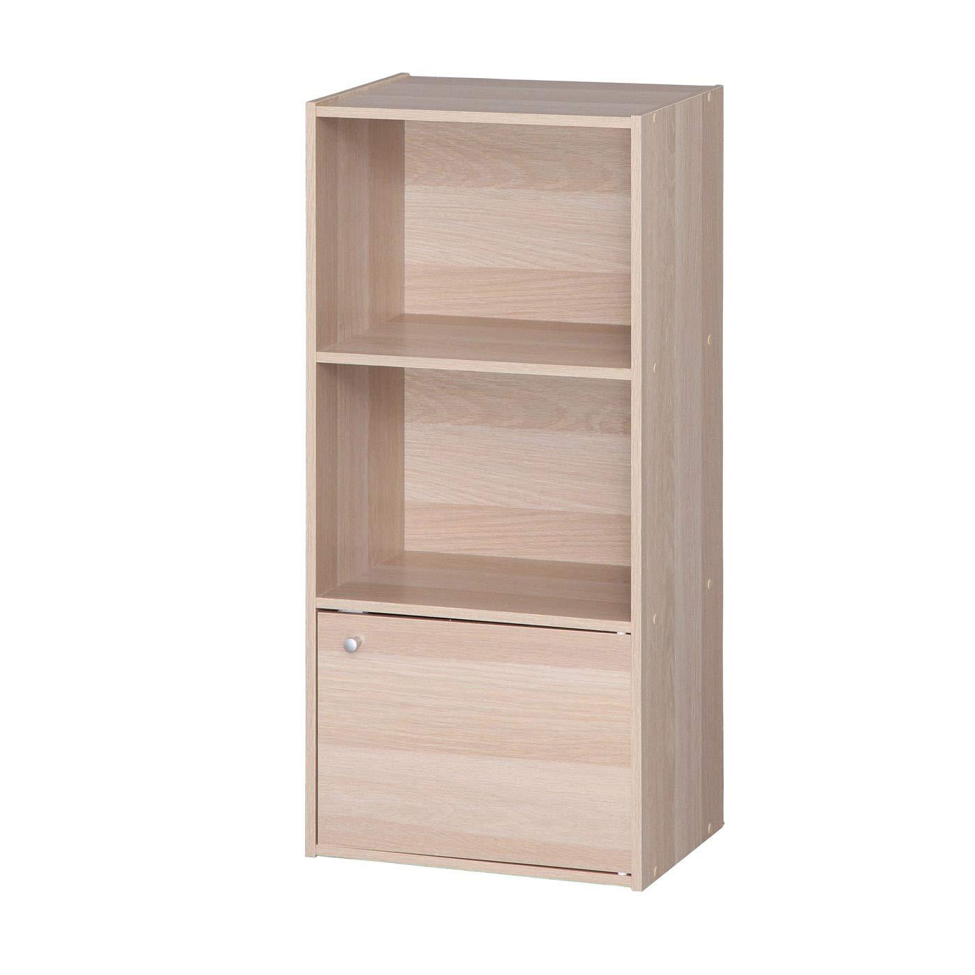 IRIS USA 3 Tier Wood Storage Shelf with Door, Light Brown
