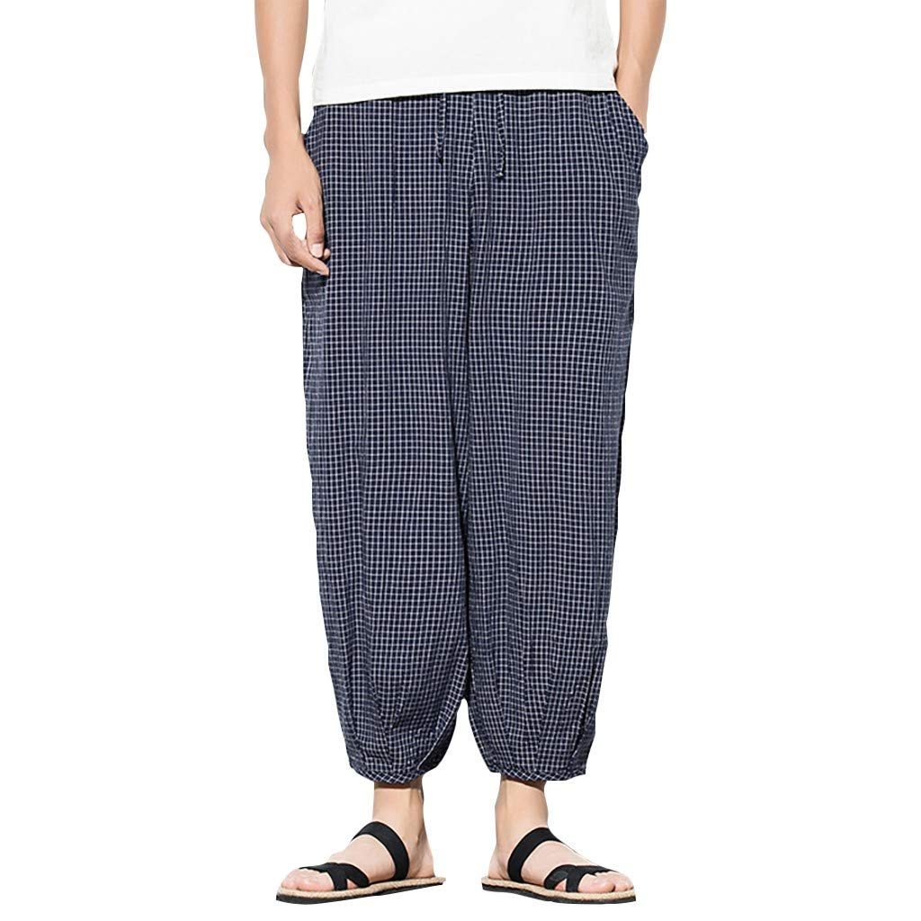 Men's Casual Baggy Pants | Straight Leg Relaxed Fit Plaid Beach Harm Tapered Trousers | Comfy Loose Drawing Pajama Pants