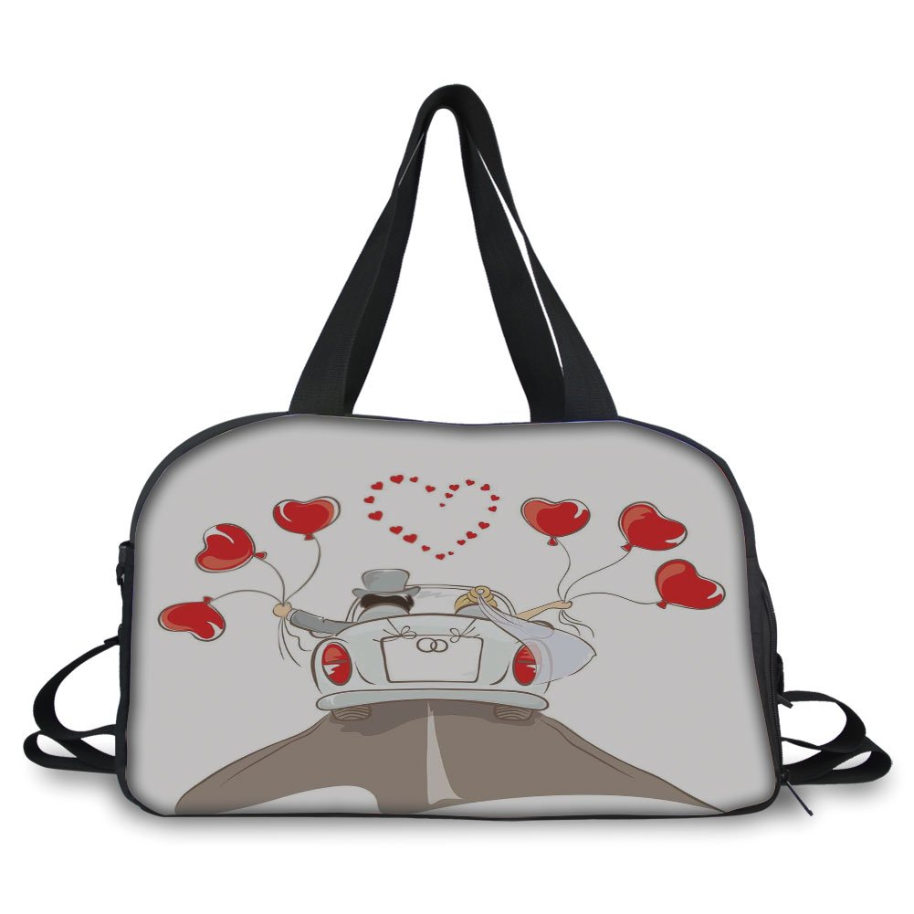 Travelling bag,Wedding Decorations,Newlywed Couple in Vintage Car with Heart Shaped Balloons Drawing,Red Taupe White ,Personalized