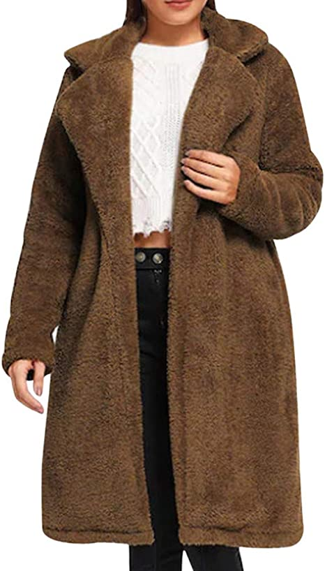 Damen Winterjacke Revers Mantel Jacke Parka Warme Lange Wollmantel Winter Warm