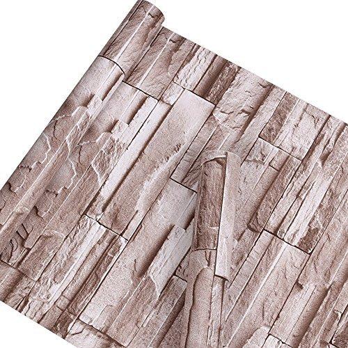 Autoadhesivo sinté tica piedra ladrillo patró n Contacto Papel Vinilo Decorativo Peel y Stick ladrillo papel pintado para pared decoració n 45 x 1000 cm MagicValley