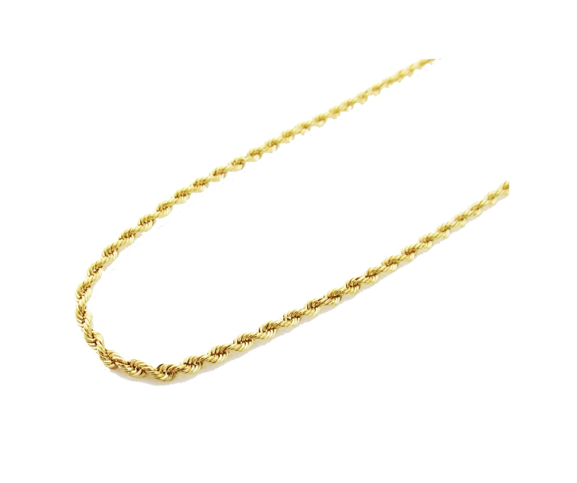 14K Gold Italy Yellow Rope Chain 24'' 2mm wide Hollow