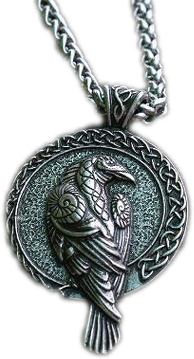 1pcs Norse Talisman Viking Raven Pendant Black Bird Celt Crow Necklace Men Pendant Jewelry, Silver and Chain, 55cm   Amazon.com