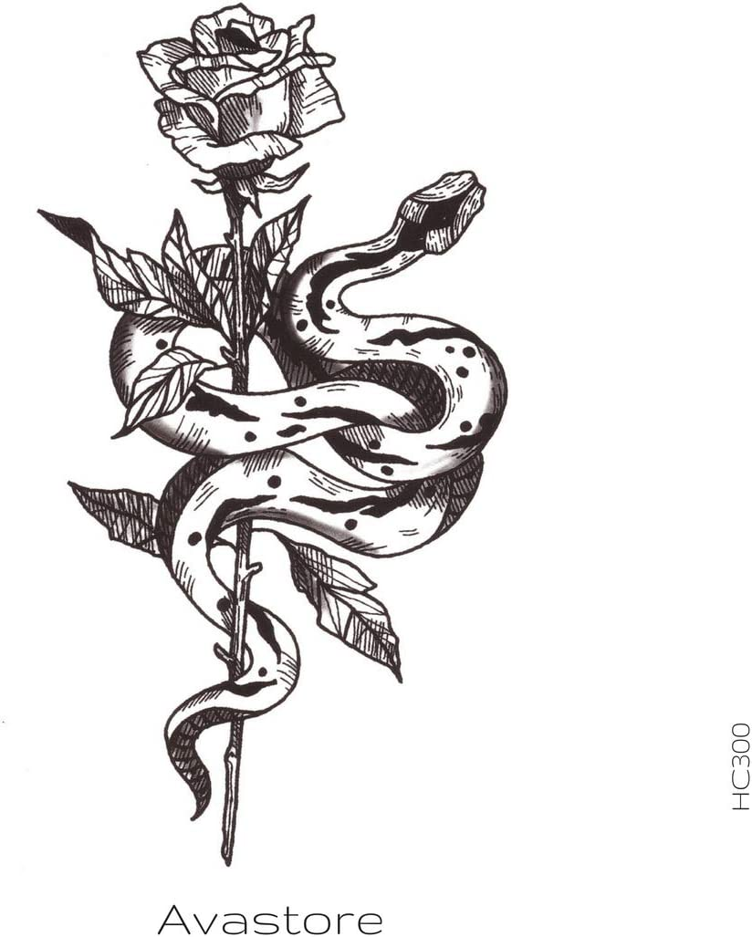 Tatuaje Temporal Flor de serpiente tatuaje efímero flor de ...
