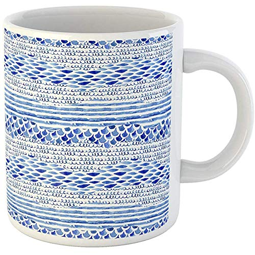 Squiggle Stripe - Funny Gift Unique Coffee Mug Watercolor Textured Seamless Pattern with Wave Stripe Squiggle Fish Scale 11 Oz Ceramic Coffee Mugs Tea Cup Souvenir