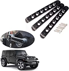 Hozan 5pcs Black Door Handle Insert with Skull Push Button Cover Trim for Jeep Wrangler JK Unlimited 2007-2017