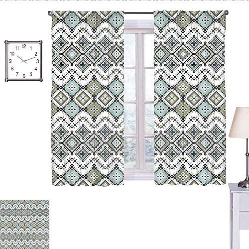 WinfreyDecor Ethnic Room Darkening Curtains for Bedroom Arabesque Geometric Pattern with Fractal Square Shapes Line Culture Artwork Short Curtain Sage Green Seafom W63 x L72