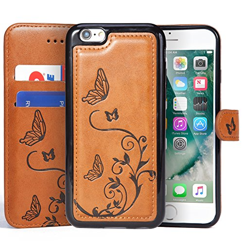iPhone 6 Plus / 6S Plus Wallet Leather Case with 2 in 1 Detachable Slim Case, Women's Vintage Embossed Floral Butterfly Pattern Vegan Leather Case - Brown