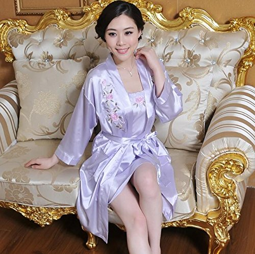2pcs Set Strap Dressing Gowns Strap Gowns Flowers Violet Light Size Color Embroidered Wanyne Pink with Dress with Dress L Dressing Ladies qtwgfPX