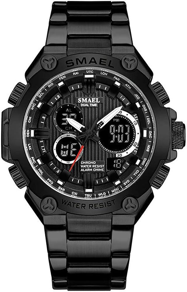 Reloj Impermeable para Hombres al Aire Libre Reloj Deportivo con Banda de Acero Reloj Despertador multifunción de Doble Pantalla Reloj electrónico para Hombre Reloj Masculino Reloj Hombre