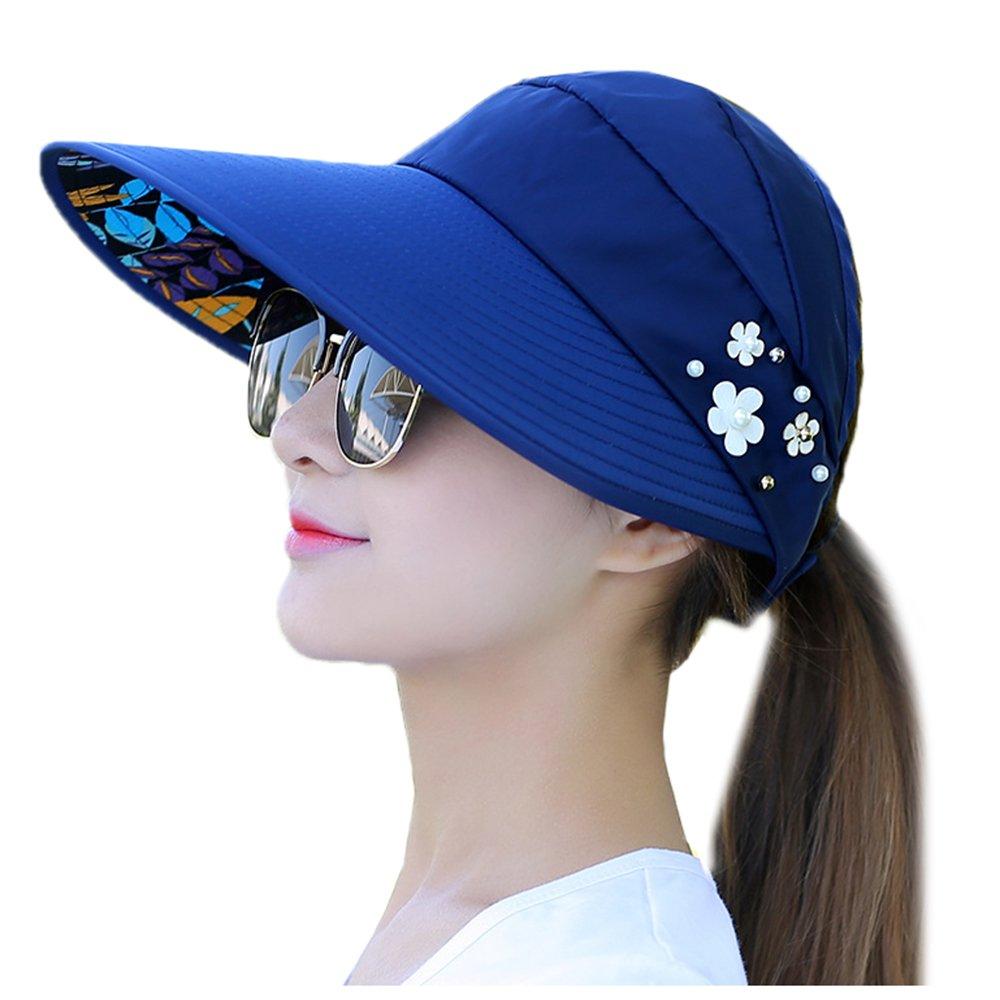 WETOO Summer Visor Sun Hat Wide Brim Cap Foldable Floppy Lightweight for Women