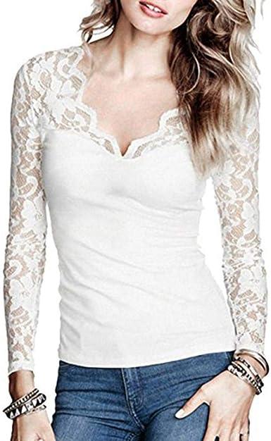 Blusas De Las Señoras De Las Señoras Sólido Largo Elegante Ropa Encaje De V Cuello Camisa Blusas Blusas Tops De Moda De Manga Larga Streetwear Camisas: Amazon.es: Ropa y accesorios