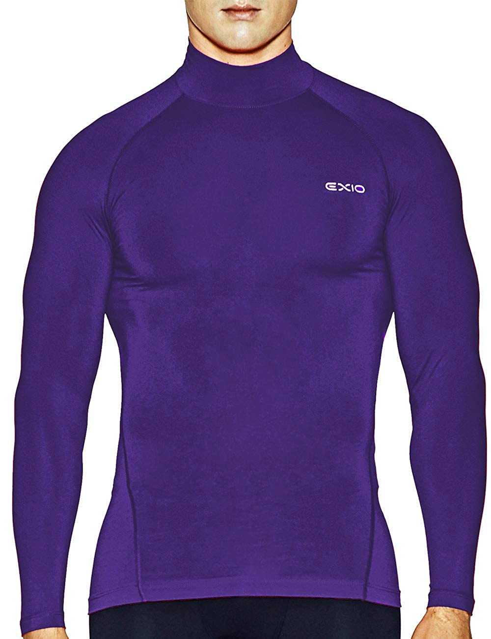 EXIO Mens Mock Compression Baselayer Top Cool Dry Long-Sleeve Shirts EX-T02