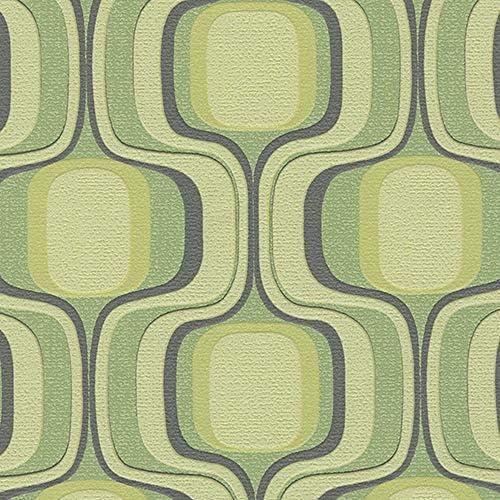 のりなし 壁紙 幾何学 レトロ 緑 販売単位1m BB1823 BB9826