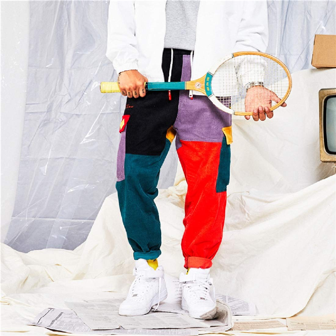 Vska Men Corduroy Patches Baggy Hip-Hop Roll Up Running Pants Joggers
