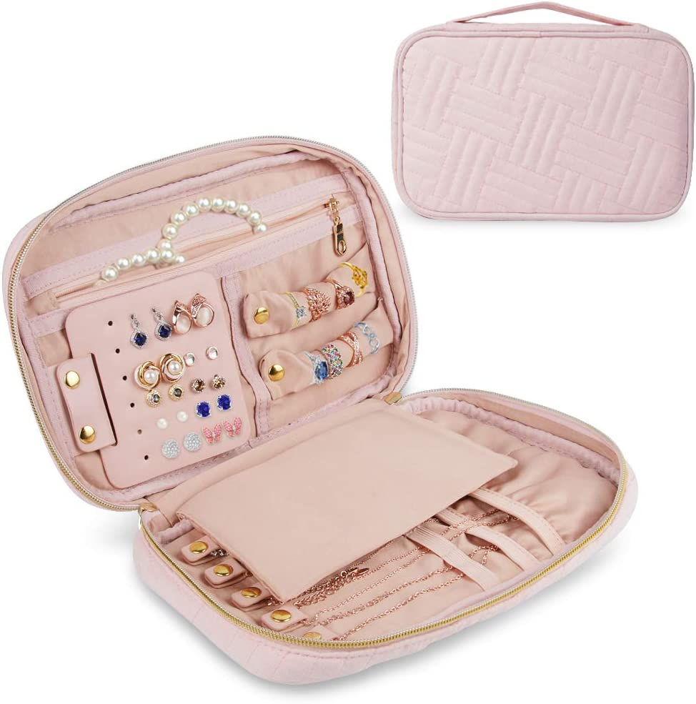 homchen Travel Jewelry Organiser Cases, Jewelry Storage Bags for Necklace, Earrings, Rings, Bracelet (Soft Pink)