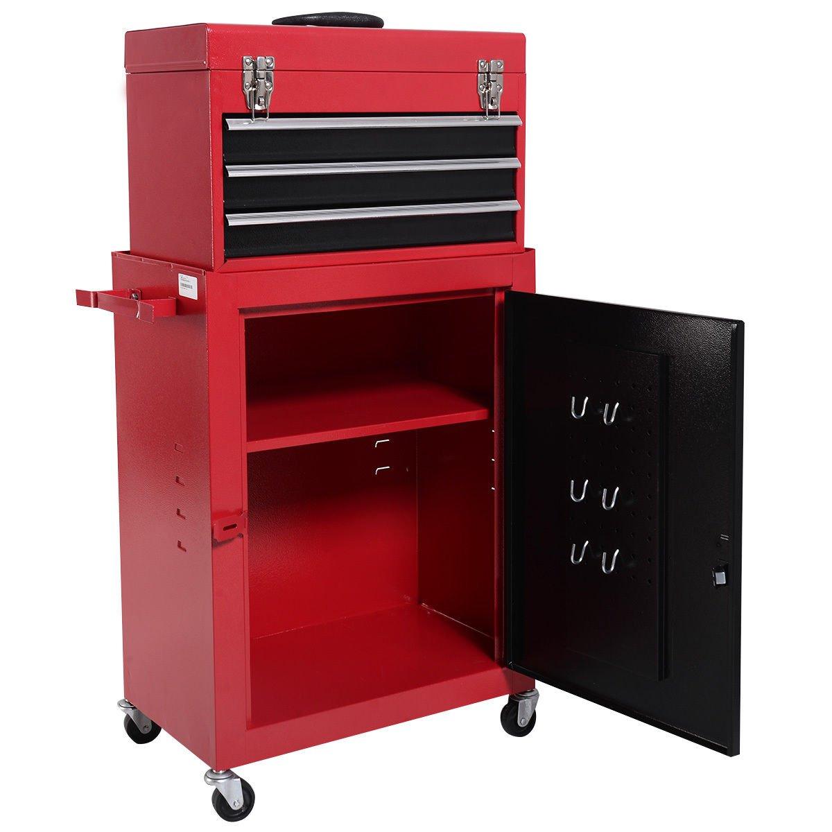 New Red&Black 2pc Mini Tool Chest & Cabinet Storage Box Rolling Garage Toolbox Organizer