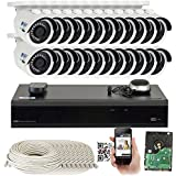 GW 32 Channel H.265 PoE NVR Ultra-HD 4K (3840x2160) Security Camera System with 24 x 4K (8MP) 2160p IP Camera, 100ft Night Vision, Outdoor Indoor Surveillance Camera