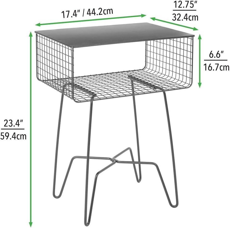 ingresso Tavolino divano per soggiorno camera da letto Tavolino design con ripiano e mensola in metallo resistente alla ruggine mDesign Tavolino soggiorno moderno argento opaco