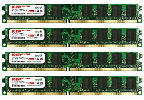 KOMPUTERBAY 4GB (4X 1GB) DDR2 800MHz PC2-6300 PC2-6400 (240 PIN) DIMM Desktop Memory with Samsung Semiconductors