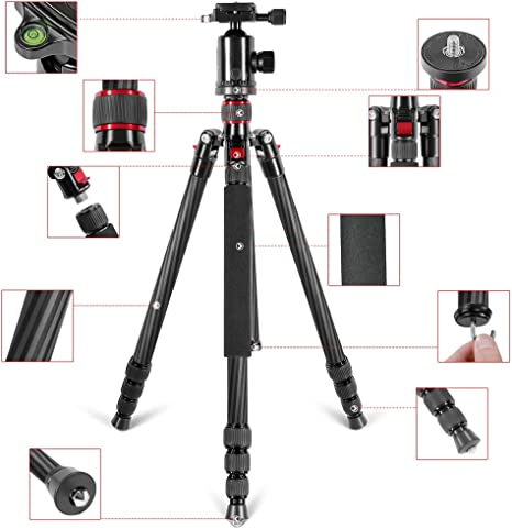 Neewer Carbon Fiber 66 inches//168 centimeters Tripod Monopod with 360 Degree Ball Head,Fluid Video Head,1//4 inch Quick Shoe Plate,Bag for DSLR Camera,Video Camcorder Load up to 26.5 pounds