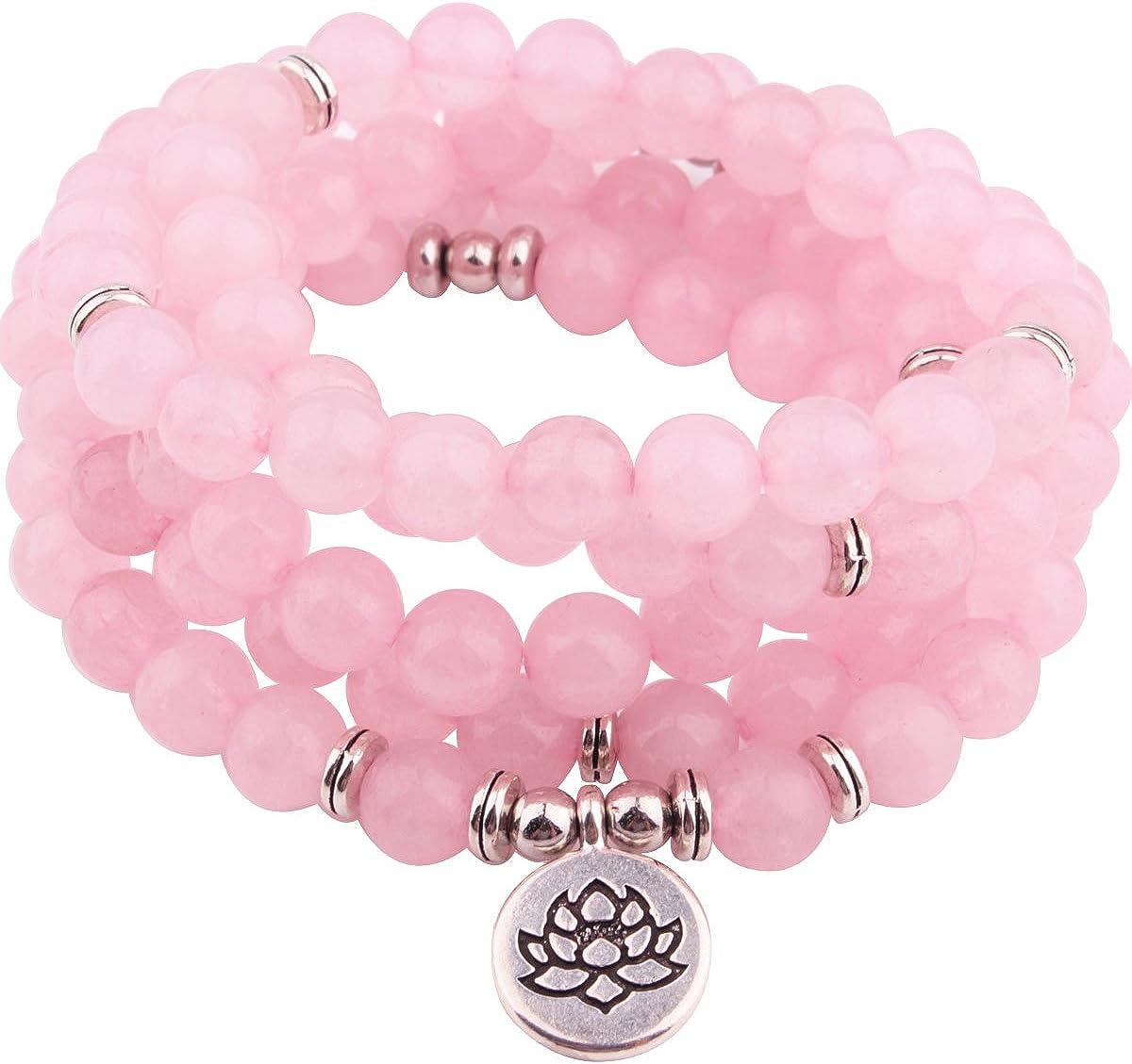 GVUSMIL 8mm 108 Mala Beads Envolver Pulsera Collar para Yoga Encanto Pulsera Natural Piedra Preciosa Joyería para Mujer Hombres