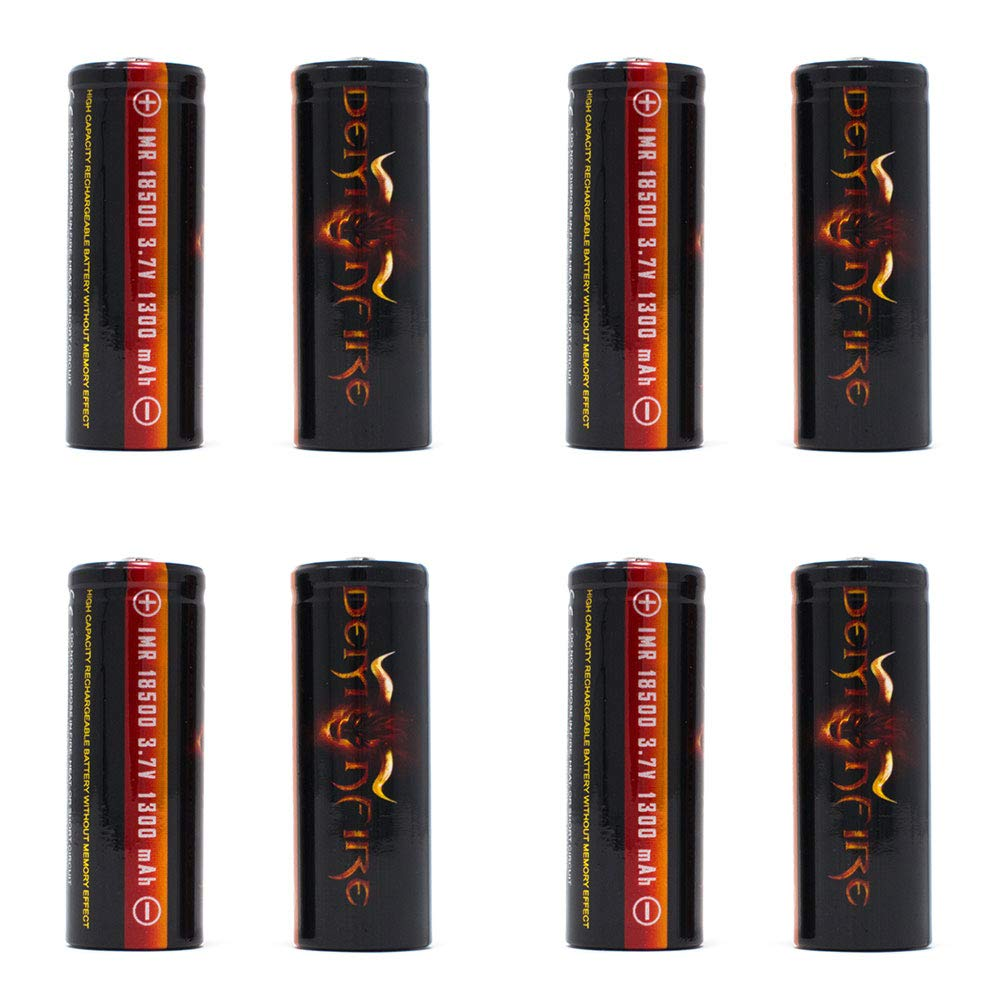 8 Pack IMR 18500 1300mAh 3.7V High Drain LiMn Demonfire Rechargeable Battery with Button Top by Demonfire
