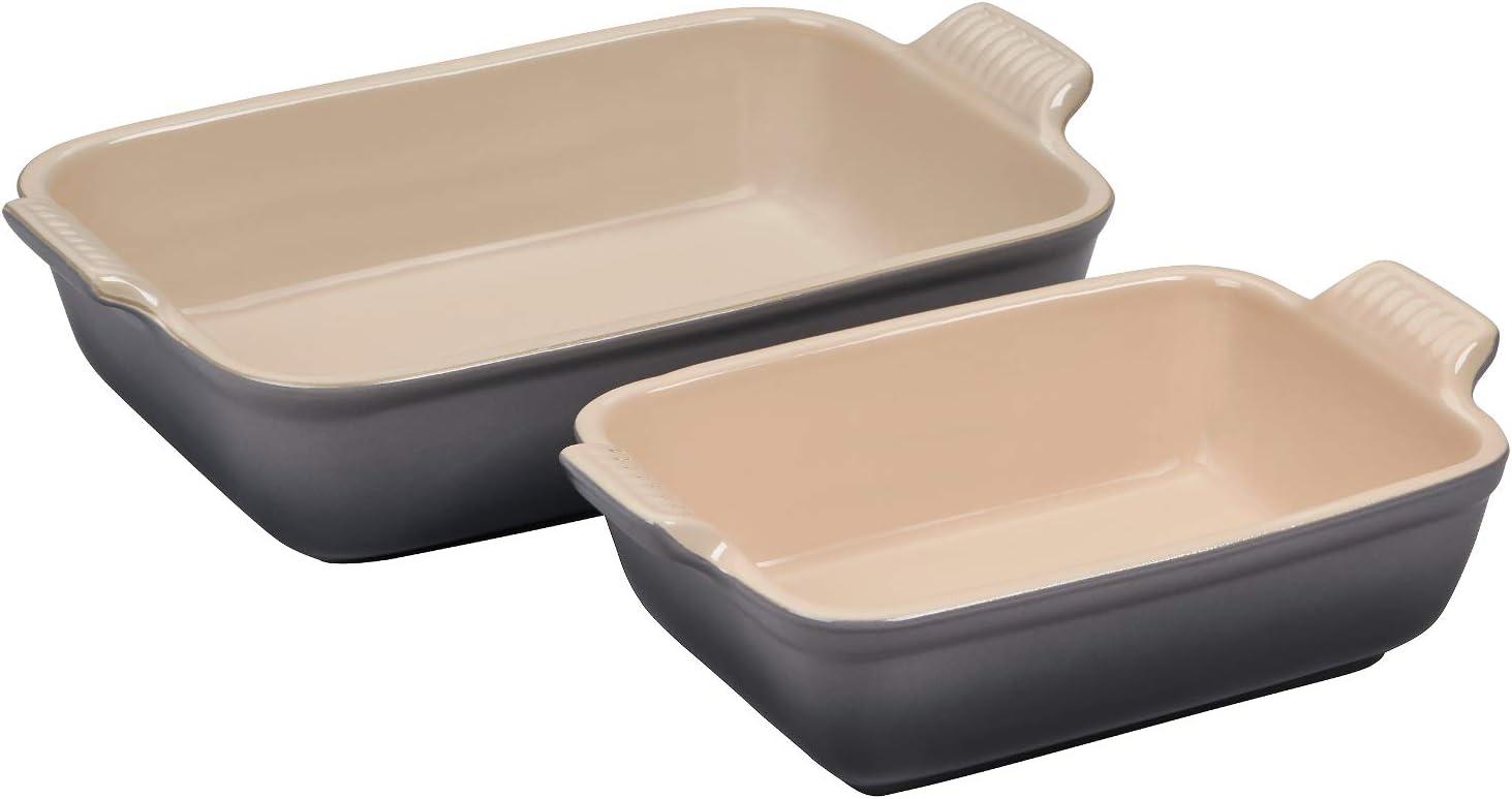 Le Creuset Heritage Oyster Stoneware Rectangular Baking Dish Set of 2