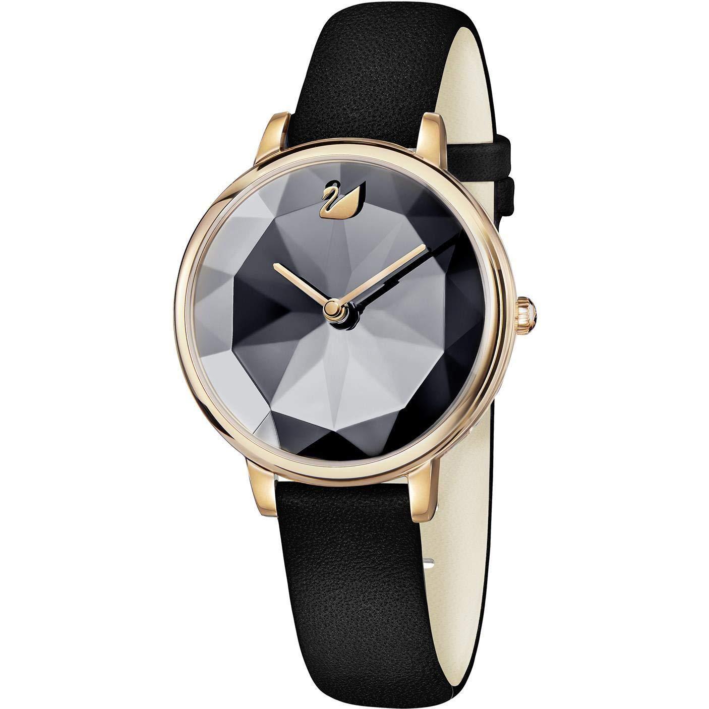 Damen Quarz Armbanduhr Edelstahl 5416009 Leder Armband Swarovski 35mm Gehäuse trhsQd