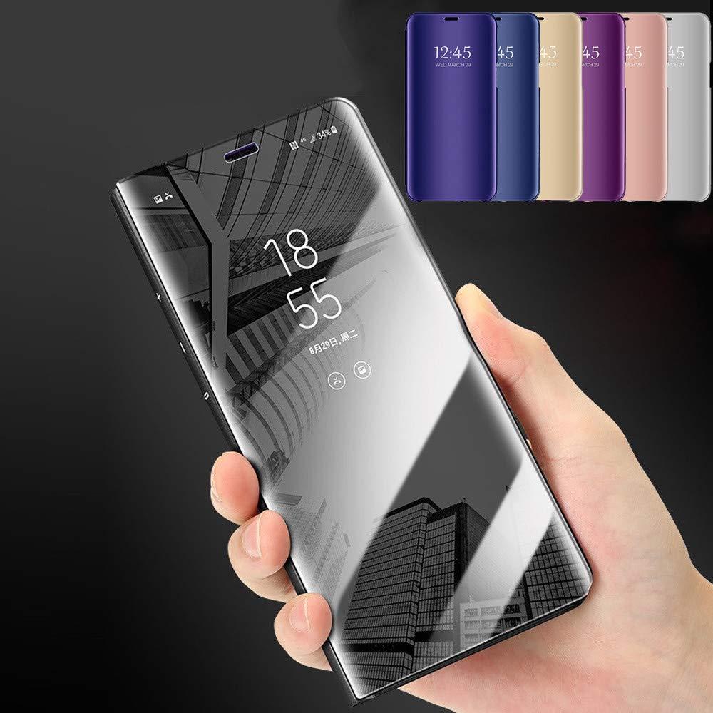 Huhu833 F/ür iPhone XS Max Luxus Smart Sleep Wake Up Clear View Spiegel Flip Leder St/änder Halter Apple Case Cover 6,5 Zoll