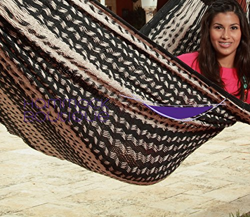 Savannah LARGE Thick Cord Mayan Hammock BLACK and NATURAL, COTTON