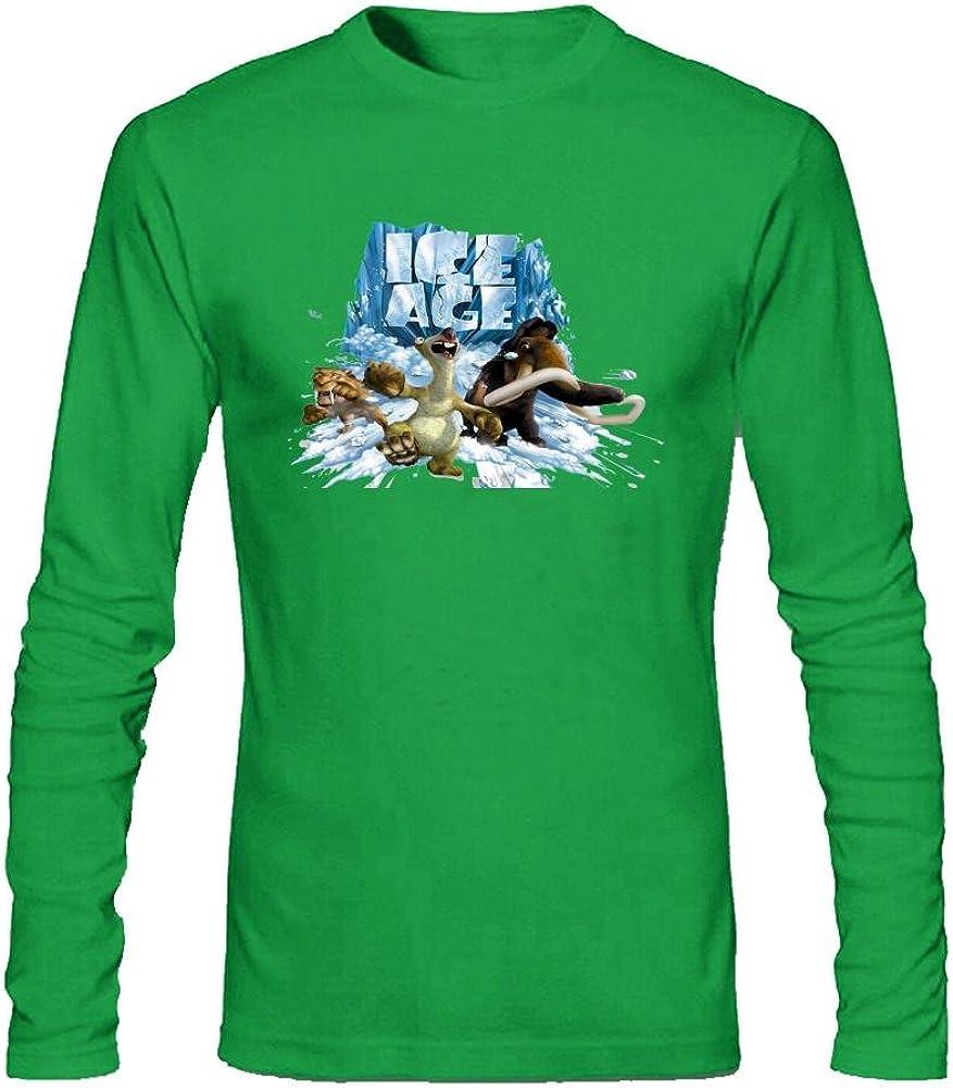 sljd Hombres de la Edad de Hielo colisión course6diseño algodón de manga larga T Shirt