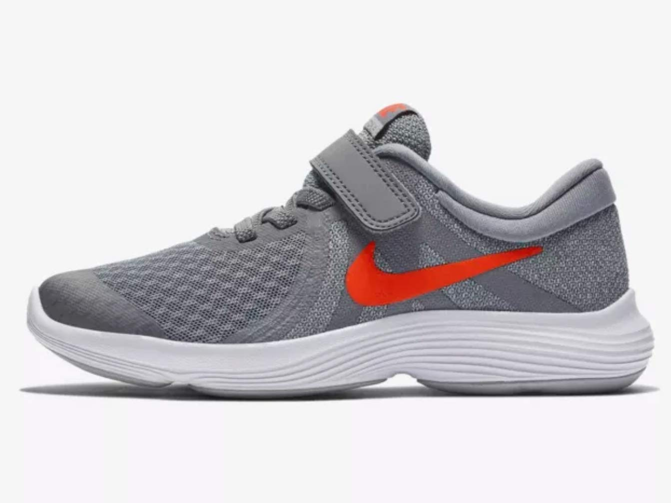 Nike Boy's Revolution 4 (PSV) Running Shoes (1.5 M Little Kid US, Cool Grey/Habanero red/Wolf Grey/White)