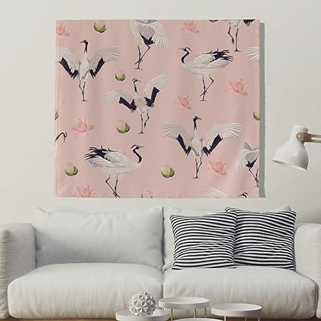 Japonés Kranich Flores Pared Alfombra Natural pájaro pared adornos pared toalla pared de tapiz mantel Toalla