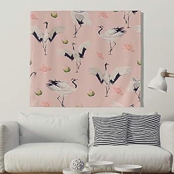 Japonés Kranich Flores Pared Alfombra Natural pájaro pared adornos pared toalla pared de tapiz mantel Toalla de playa 200x150cm Rosa: Amazon.es: Hogar