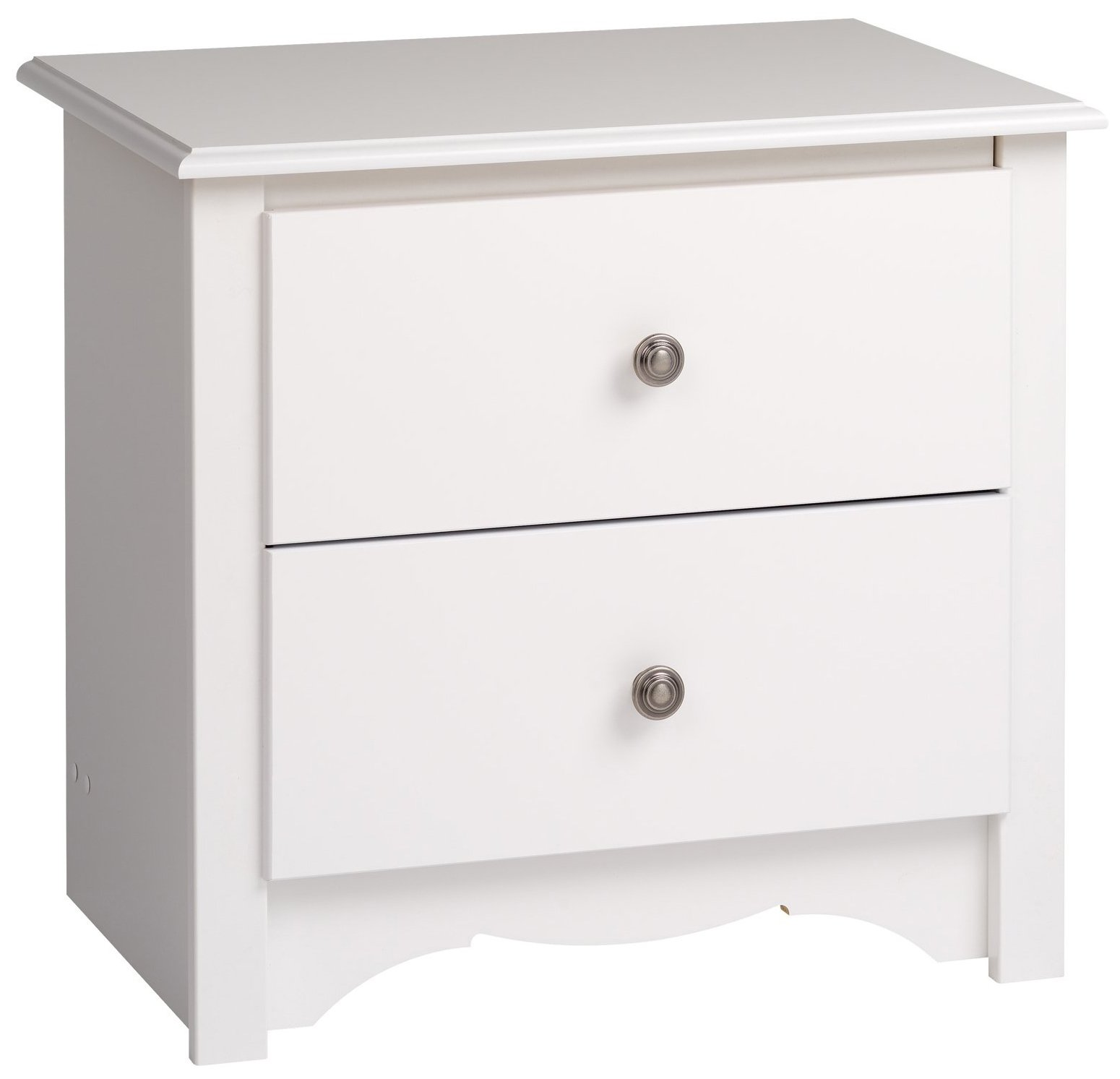 Prepac White Monterey 2 Drawer Nightstand by Prepac