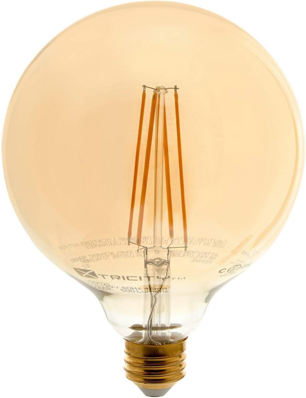 Vintage Globe Led Filament Bulb Edison Style Dimmable 5w 60 Watt Equivalent G40 E26 Medium Base 2200k Soft White 500 Lumens Ul Listed