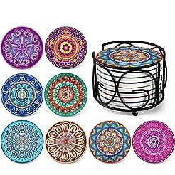 Absorbing Stone Mandala Coasters for Dri...