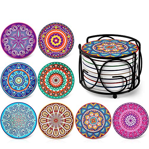 Absorbing Stone Mandala Coasters for Drinks by Teivio – Cork Base, with Holder, Unique Present for Friends, Men, Women, Funny Birthday Housewarming Gifts, Apartment Kitchen Room Bar Decor, Set of 8
