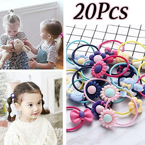 Monlonen 20pcs Mixed Random Wholesales Children Girls Headwear Cartoon Hairband Kids Elastic Scrunchie Ponytail Holder Hair ()
