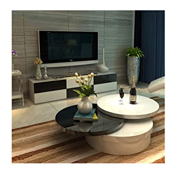 Ofcasa White Round Gloss Coffee Table Extendable Coffee Table