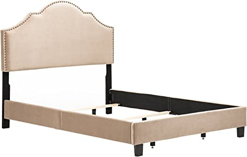 Andeworld Modern Design Height Adjustable Queen Size Upholstered Nailhead Bed with Bed Frame Taupe