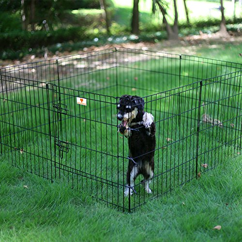 PEEKABOO Pet Playpen Dog Fence Foldable Exercise Pen Yard for Cats Rabbits Puppy Indoor Outdoor - 24'' Black by PEEKABOO (Image #1)