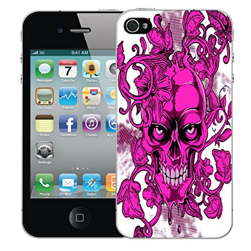 Mobile Case Mate iPhone 5c Silicone Coque couverture case cover Pare-chocs + STYLET - Pink Skull Vine pattern (SILICON)